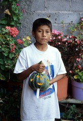 Boy With Pumpkin Mexico (Ilhuicamina) Tags: people halloween pumpkin dayofthedead mexico gente jackolantern fiestas calabaza michoacan purepecha