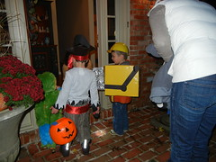 trick-or-treating with Teddy and Winn