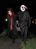 Helena Bonham-Carter and Tim Burton leaving a Halloween party held at the home of television presenter Jonathan Ross. London, England