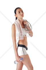 girl in fitness wear (people12dennis) Tags: background beautiful beauty white healthy power whitebackground freshness fresh female girl portrait young cute strong energy health lady cheerful thin active enjoyment woman relaxing body train people brunette attractive exercise fitness diet refreshment refreshing sport athletic gym lifestyle workout beverage sexy slim athlete fit move muscular