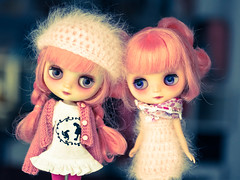 Two pink ladies (mitsubish) Tags: for blythe custom francoise ismael ananassa middie