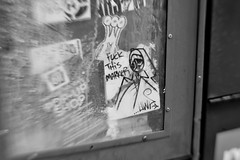 Fuck This Marker (damonabnormal) Tags: street city blackandwhite bw streetart philadelphia lensbaby nikon sticker king 33 stickers january urbanart pa philly slaps urbanite uwp citystickers underwaterpirates 2013 d700