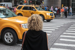 NYC -4269 (Jacobo Zanella) Tags: newyorkcity nyc nuevayork usa septiembre travel stranger local candid city urban ny canon5d 2012 jacobozanella taxi back curled hair black pedestrian crossing zebra stripes cars cab waiting jz76