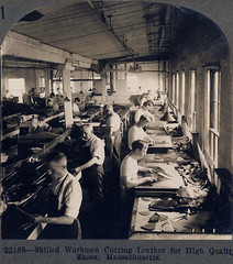 Skilled workmen cutting leather for high quality shoes, Massachusetts, USA - circa 1910 (Aussie~mobs) Tags: leather vintage workshop manufacturing leathershoes