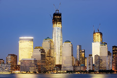 The Trade Centers (Tony Shi.) Tags: world new york city nyc sunset building tower skyline skyscraper river one freedom 1 construction downtown manhattan 4 center wtc hudson lower trade financial goldman wfc sachs  centers