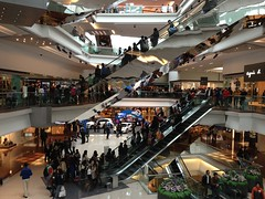Festival Walk (powkey) Tags: glass metal retail mall store escalator reflective atrium balustrade uploaded:by=flickrmobile flickriosapp:filter=nofilter