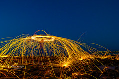 Fire Fun (Mishal Almesfer) Tags: steel wool photography photo extremist nikon d90 1024mm f3545 sandisk extreme pro joby gorillapod wacom intuos lightroom almesfer adorama amazon landscape landscapes fun fire      q8 kuwait stars seascape sea beach