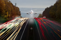 Impending disaster (Michel Couprie) Tags: cars photoshop plane canon eos motorway teal headlights 7d autoroute avion voitures compositing phares