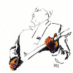 Hitting That Note [20130121] (rodneyvdb) Tags: music rock guitar drawing pastel blues figure inkpen neocolorii waxpastel
