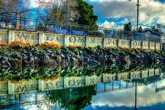 Welcome to Poulsbo HDR (Pastv4) Tags: park blue trees color water clouds fence washington rocks filter pugetsound hdr refections poulsbo libertybay kitsapcounty polarizerfilter poulsbomarina bwpolarizerfilter sonya77 translucentmirror slta77vq carlzeiss1635mmf28zassmlens portofpoulsbomarina