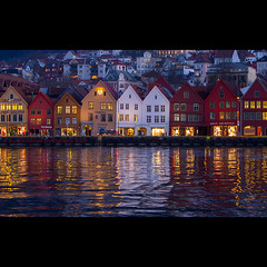 Bergen, Norway 2 (stella-mia) Tags: houses house reflection norway reflections evening colorful streetphotography landmark fjord bluehour bergen lightreflection bryggen eveninglight colorfulhouses canon5dmkii annakrmcke