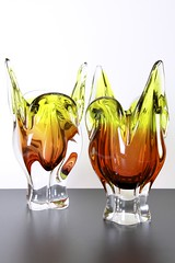 Sklo Union Chribska Glassworks 'Cats Head' Vases, Josef Hospodka, circa 1960's (afterglowretro) Tags: cats art glass vintage czech head retro josef vase 1960s bohemian sklo hospodka