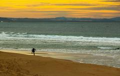 O Surfista desconhecido (JoFigueira) Tags: sunset sea sky praia beach portugal yellow mar sand surf waves areia surfer cu prdosol ondas peniche nvens surfista supertubos yellowsky praiadesupertubos
