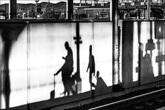 La marche des ombres (vedebe) Tags: humain people quai rails trains gares gare ville city street rue urbain noiretblanc netb nb bw monochrome architecture