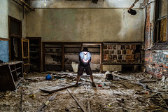 Flash of inspiration (John Getchel Photography) Tags: abandoned detroit stagnesschool decay flash flashphotography selfportrait urbex