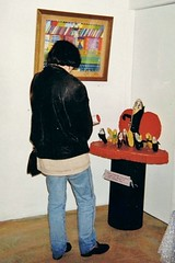 Sweet Foray exhibition Bananarigars (deadbudgie) Tags: bananarigar budgie gimp leather art dot thompson softie sculpture bondage 1994 australia exhibition sweet foray gallery katoomba