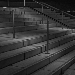 Steps at night (Martyn.A.Smith) Tags: outdoors steps lights rails warwickuniversity fujifilm xti monochrome westmidlands