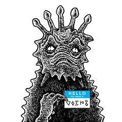 Hello (Don Moyer) Tags: nametag creature hello ink drawing notebook moyer donmoyer brushpen alien
