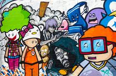 Cartoon Characters (Steve Taylor (Photography)) Tags: art cartoon graffiti mural streetart colourful happy newzealand nz southisland canterbury christchurch cbd city clown starwars plank