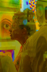 """International Optimists Yellow Group Show"" August 17, 2016 conartistnyc (Candid Shot Of Patron Taken Thru Window) (nrhodesphotos(the_eye_of_the_moment)) Tags: dsc02828160 theeyeofthemoment21gmailcom wwwflickrcomphotostheeyeofthemoment reflections shadows internationaloptimistsyellowgroupshow les window profiles art eyes multiexposure treatment girl season summertime yellow"