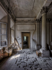 kolibri (richter christian) Tags: abandoned architecture baroque bird chair columns decay door entrance fineart forgotten graffiti impressive mansion mess old palace room window