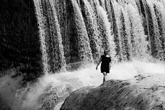 Karen (Jan Moons) Tags: cevennes frankrijk cascade cascadedelavis languedocrousillon gard bw river waterfall landscape monochrome outdoor water serene blackandwhite paradise rocks blackdress girl sunglasses nature rough