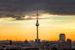 TV Tower | Berlin, Germany (NicoTrinkhaus) Tags: sunset berlin sky skyline cityscape city clouds orange photography hdr hdrphotography tower tv building beautiful fineart germany rooftops roofs