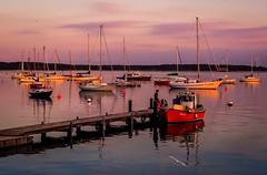 awaiting the sunset (claudia.kiel) Tags: deutschland germany eckernfrde eckernfoerde hafen harbour sailboat segelboot boot boat steg jetty seascape sonnenuntergang sunset sunsetmood reflection spiegelung