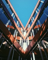 OSB, AUB (dimitrisalloum) Tags: wood aub sky symmetry glass reflection clouds cloud triangle university clear wooden arch art windows business campus geometric