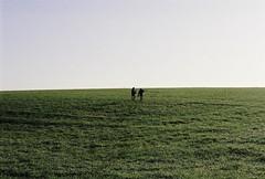 Réflexion (Sarah Devaux) Tags: ciel jeunes hommes marche coline hiver tournage ruffec charente campagne argentique herbes vet bleu clair silhouettes
