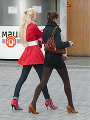 Blonde and Brunette - Both 3 (booster_again) Tags: jeans boots miniskirt tights pantyhose leggings pumps