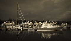 Early morning on Lake Charlevoix (Kevin Povenz) Tags: 2016 august kevinpovenz charlevoix lakecharlevoix boat morning sunrise early earlymorning sunlit water lake reflection canon7dmarkii michigan upnorth
