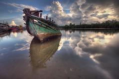Closure (Azer Naudzer a.k.a PokYa) Tags: sunset reflection clouds boat riverbank hdr kelantan tokbali tepisungai