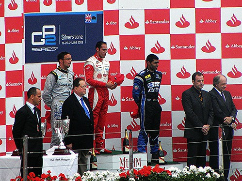 The podium for the GP2 race at the 2009 British Grand Prix