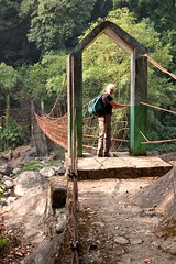 Marlene crossing the cable bridge _1607 (hkoons) Tags: bridge india suspension path steps cable rope trail cables walkway centralasia suspensionbridge pathway cherrapunji braided meghalaya cherrapunjee churra khasi sohra khasihills eastkhasihills braidedwire nongthymmaivillage charrapunji