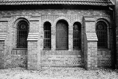 Single & triple windows (Jon-UK) Tags: windows bw white black brick church details adoremus adorer adorar  adhradh addoliad