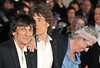 Keith Richards, Ronnie Wood and Mick Jagger of the Rolling Stones 56th BFI London Film Festival: 'Rolling Stones - Crossfire Hurricanes', gala screening held at the Odeon Leicester Square - Arrivals. London, England