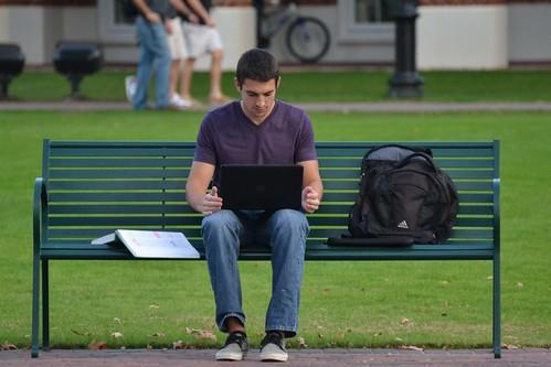 man male guy campus virginia student parkbench studying cnu newportnews purpleshirt christophernewportuniversity