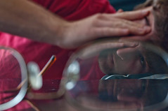 Eyesore (Nathan Dz) Tags: red selfportrait black glasses dof naturallight depthoffield sidelight
