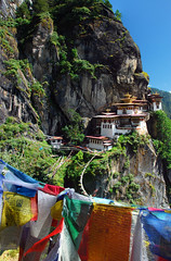 View from the Lookout (LeftCoastKenny) Tags: cliff mountains bhutan prayer lookout flags paro togersnest