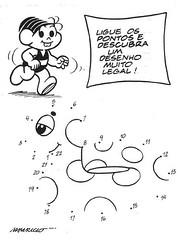 Jogo Ligue os Pontos para Colorir - Turma da Mônica. (Atividades Educação Infantil) Tags: passatempos turmadamônica ligueospontosdesenhos
