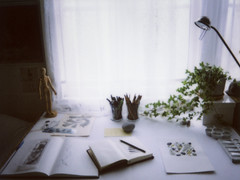desk (sue.h) Tags: plant window lamp rock pencils desk ivy books workspace instant prints pens sketchbooks windowlight notebooks artlibre intsax instaxmini50s sighnowfortherestofthehouse iloveinstaxmini50s