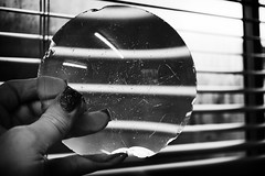 26/365...Thru' the looking glass (~Shurlee~) Tags: bw window glass lines reflections mono sony fingers nails blinds magnification 30mm 365project nex7