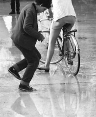 Put your wellies on (theirhistory) Tags: boy water pool girl bike jeans jacket plimsols