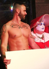 Family Feud (danimaniacs) Tags: shirtless man hot sexy male guy pecs tattoo drag muscular chest hunk dancer queen tats sistersofperpetualindulgence familyfeud mickys