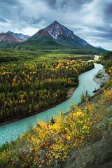 King Mountain and the Matanuska River (Joe Ganster) Tags: road trip autumn mountain storm mountains fall nature water beautiful beauty rain alaska clouds america river landscape 1 us highway scenery stream king skies natural cloudy glenn north ak stormy roadtrip joe palmer glen glacier route mat valley su talkeetna matsu northern fed susitna alaskan glacial matanuska chugach ganster chickaloon