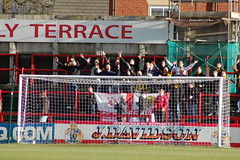 Gloucester Fans in Full Voice (KickOffMedia) Tags: game ball town football goal play kick north ground robins player gloucester tigers match conference fc score spectator reeves skill altrincham nonleague mosslane tekkers bluesquarebet