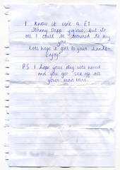 I hope your day was horrid (Dilys Treacle Treasures) Tags: handwriting found lost message note mysterious letter jigsaw johnnydepp handwritten cryptic notepaper linedpaper marsbars