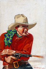 The Lobo Brand, Action Stories magazine cover, January 1930 by Harold Crouse Murphy (Tom Simpson) Tags: thelobobrand actionstories magazine cover 1930 haroldcrousemurphy western westernart cowboy sixshooter revolver gun gunfight cowboyhat pistol 1930s art painting illustration
