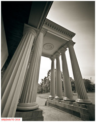 The Dundurn castle in Hamilton (DelioTO) Tags: 4x5 adox100 architecture august autaut blackwhite canada city d23 f250 lake ontario pinhole summer woods